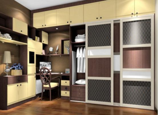 书柜衣柜组合效果图 衣柜带书柜效果图图片