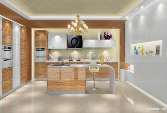 2016开放式厨房带中岛台效果图图片