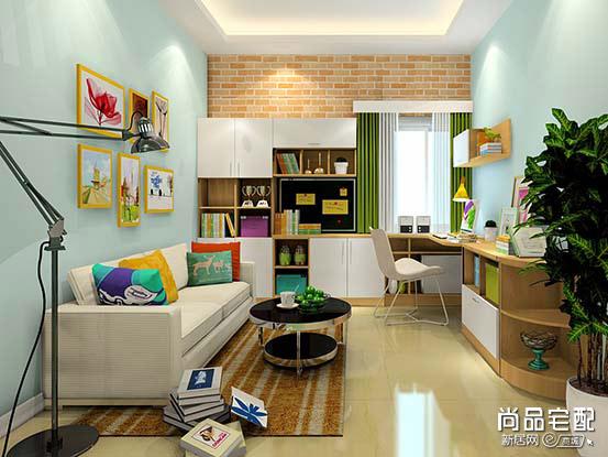 客厅兼书房设计