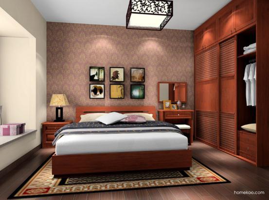 新中式实木床图片 中式风格实木床