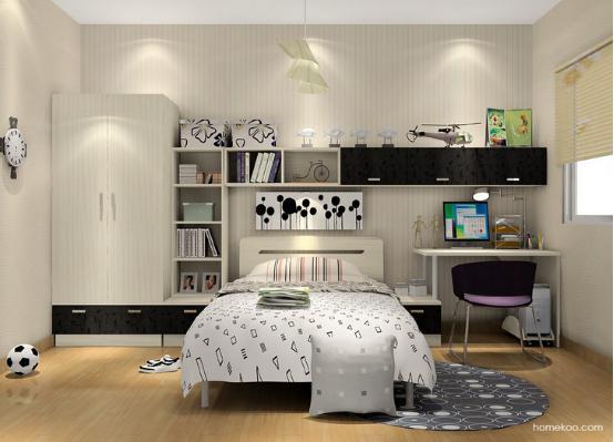 这个空间的衣柜、书桌和层板的组合设计是非常到位的,黑白的搭
