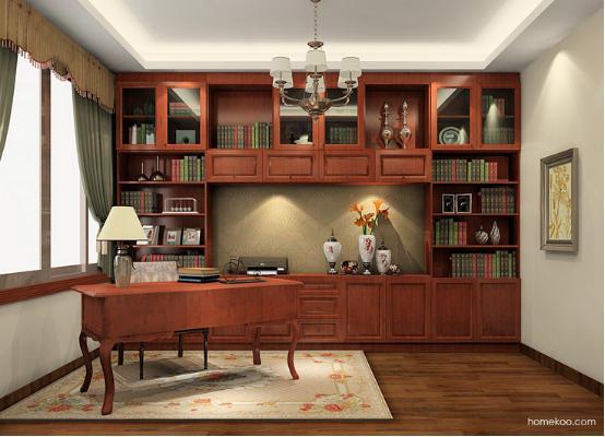 给人的感觉是非常不错的,中式书柜的设计感非常强烈,斜置的书桌设计给图片