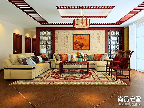 中式客厅吊灯效果图