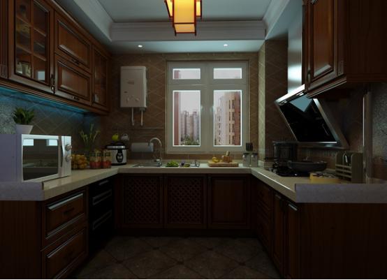 中式厨房装修效果图2016图片