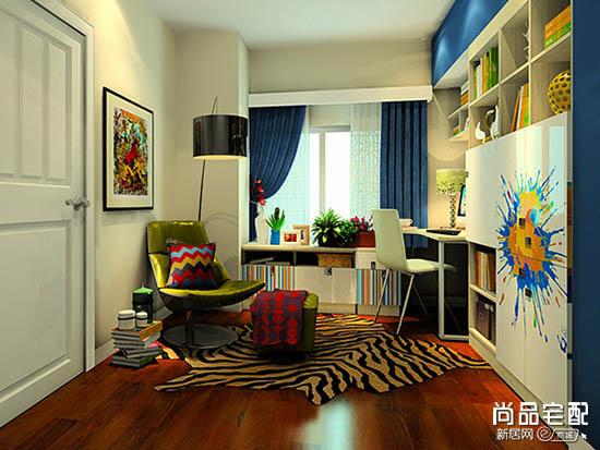 客厅兼书房效果图