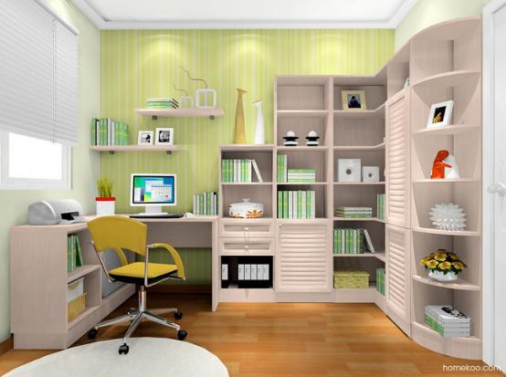 装修图片风格初衷,一些非常精细的后期造型也很美好,配饰的设计也增加了时尚的风格,书房的设计到位,就可以给人一种非常安逸而舒适的空间,为生活氛围增加很多时尚的魅力,柜类的设计也摒弃了那些传统的设计。   简欧风格书房装修图片风格展示:北欧阳光效果图一    这个书房的设计采用的是淡雅的粉色,纹样和图案的选择都是非常不错的,装饰看上去很简单,飘窗处的矮柜设计也是很好的,和背景墙之间的搭配营造出来的是极具异域风情的欧式简约的家居氛围,这样的风格温暖而有魅力,也不会失去大气的氛围。   简欧风格书房装修图片风格展