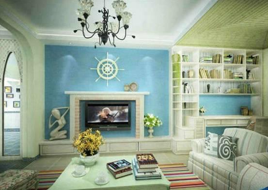 地中海风格电视背景墙装修图片