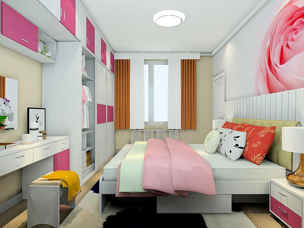 手绘卧室背景墙