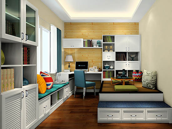 客厅兼书房装修