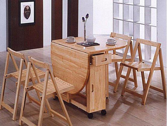 实木折叠餐桌图片