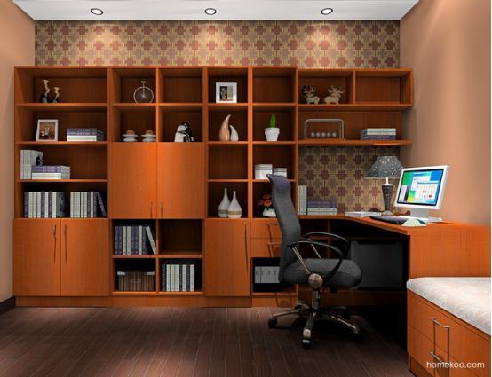 斑斓高贵的气质让书房变得很好看,转角书柜和书桌的组合很好看,榻榻米