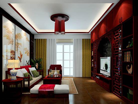 中式书房窗帘效果图