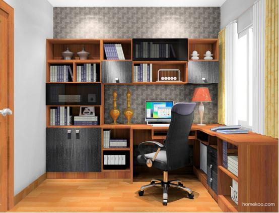 书柜电脑桌设计图纸_书房电脑桌带书柜设计图