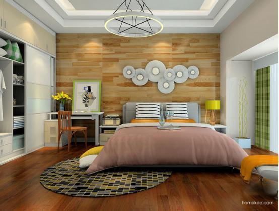 这个卧室的床头设计简洁而美观,墙面的木纹装饰也是非常好看的,纹理