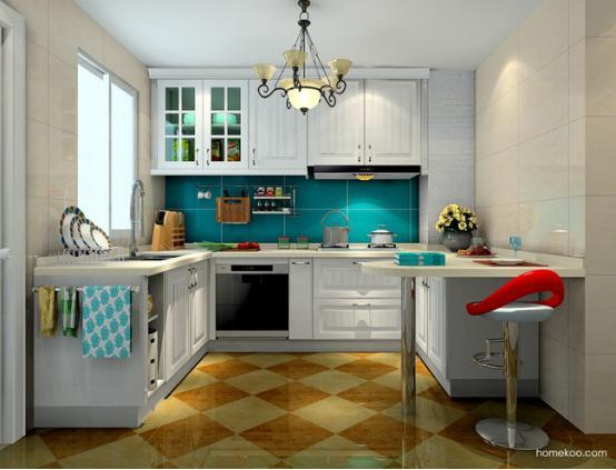 家装的风格越来越多,怎么才可以找到自己最喜欢的风格呢?欧式橱柜装修效果图值得好好看看,学习一下别人设计理念也是非常不错的一件事情。厨房一旦装修得不好,就会很影响心情,后期如果说想要再重新改造的话,还会有一笔非常大的支出。 罗马假日欧式橱柜装修效果图  这个厨房的设计非常地实用而美观,设计师选择这种L型的厨柜模式凸显出来的是浪漫的罗马假日风格,柜体的造型经典而时尚,黄色和蓝色的瓷砖给人一种很自然而清新的体验,如果厨房给人亲近而自然的感觉,一定是极好的。