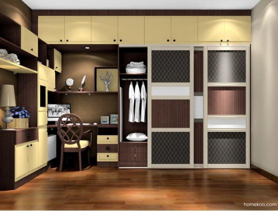 转角的书柜造型也是极好的,层板的展示作用也极强.   这个卧室的柜