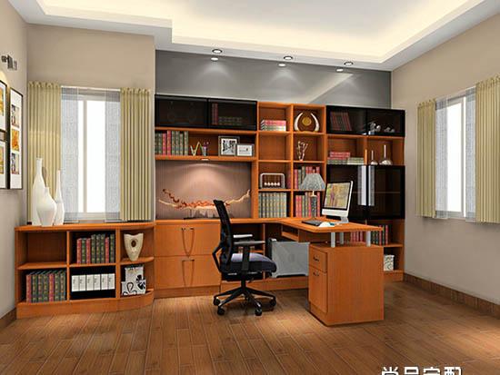 转角书桌书柜效果图