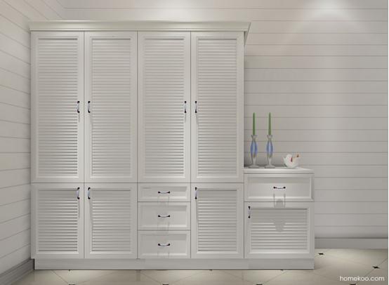 这个衣柜的设计很普通,面板的百叶窗造型很有魅力,平开门的设计在储物的方面是非常不错的,旁边的矮柜组合设计也是极好的,美观的作用是很强大的,营造出来的是一个非常浪漫而惬意的空间氛围,白色的搭配让人很容易安静下来。 怀旧的家:都市流行的衣柜平开门效果图