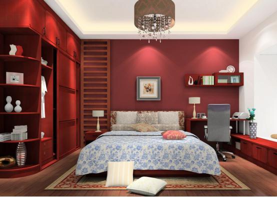 这个卧室的设计充满了古典优雅的味道,红色的背景墙和实木衣柜的