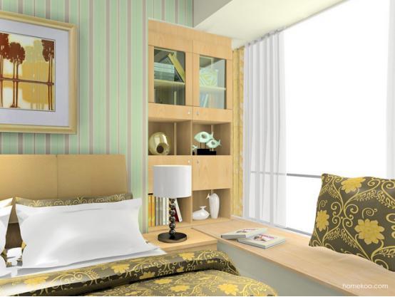 卧室u型飘窗窗帘图片