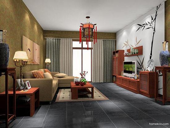 简约中式客厅效果图_现代中式风格客厅效果图