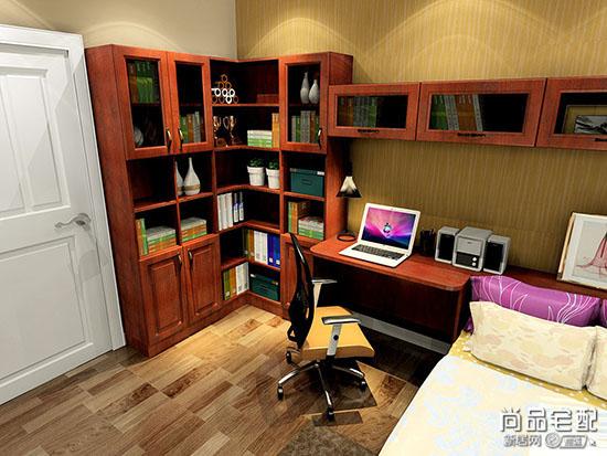 转角书桌书柜设计图图片