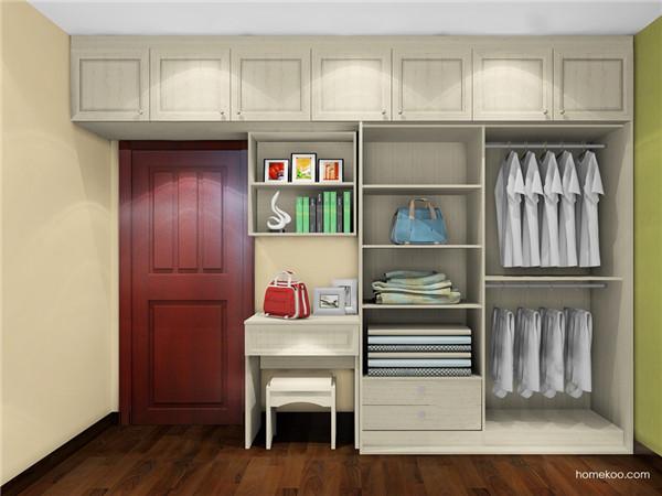 它采用的是小衣柜,但布置蛮多,或许在一个卧室不止一个开放式衣柜,这图片
