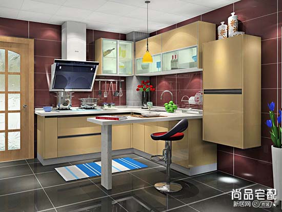 欧式开放式厨房吧台