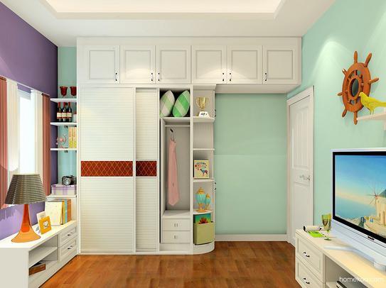 储物柜,电视柜的设计选择的是同一种色调的板材,储物功能强大,窗户