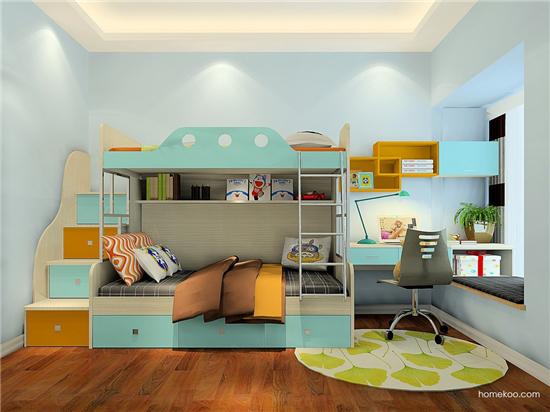 上下铺儿童房装修效果图全景图片