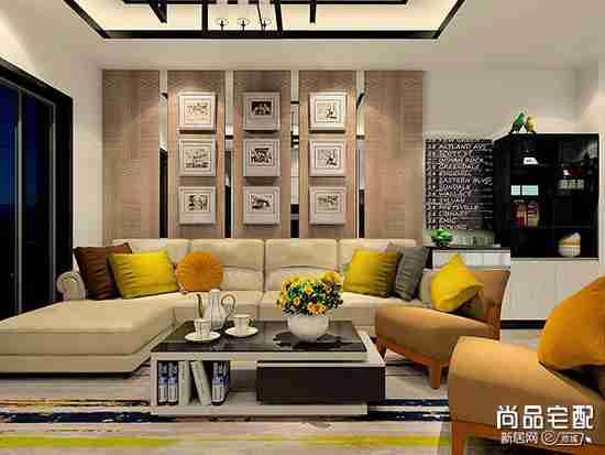 现代简约客厅手绘