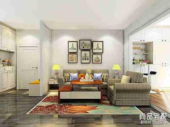 客厅布艺沙发摆放效果图