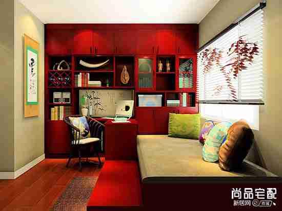 现代中式书房效果图欣赏