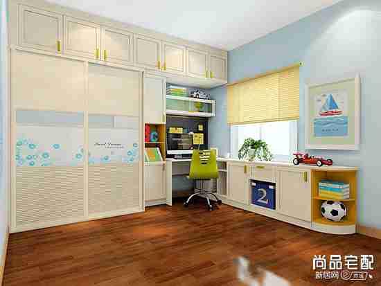 儿童房带书柜的怎么设计