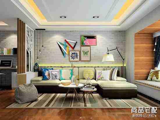 客厅条纹墙纸效果图欣赏