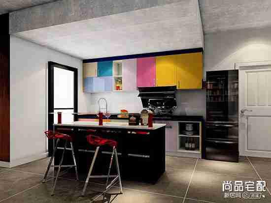 开放式厨房隐形门图片欣赏