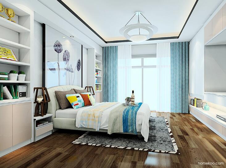 卧室窗帘床单搭配效果图
