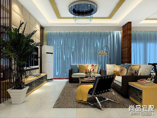 客厅装浅蓝色窗帘效果图大全